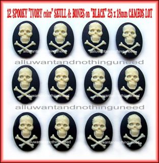 12 Skull Goth Pirate 25mm x 18mm Ivor Black Cameos Lot
