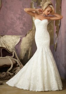 New White Ivory Mermaid Sweetheart Lace Wedding Dress Gown Prom Custom