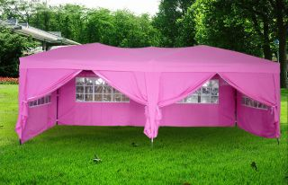 10x20 ft EZ Pop Up 4 Walls Canopy Party Tent Gazebo Heavy Duty Pink