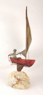 Curtis Jere Mid Century Modern Metal Art Sculpture Single Handed