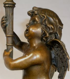 Falconet Fecit Cherub Angel Bronze Figure Candle Holder