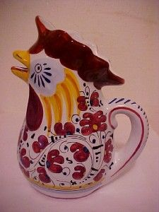 Vtg. Deruta Italian Majolica Pottery ~ Figural Rooster Chicken Pitcher
