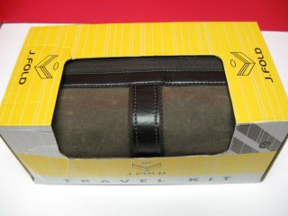 FOLD TRAVEL KIT BROWN TOILETRY BAG NEW WATER RESISTANT WAXED CANVAS