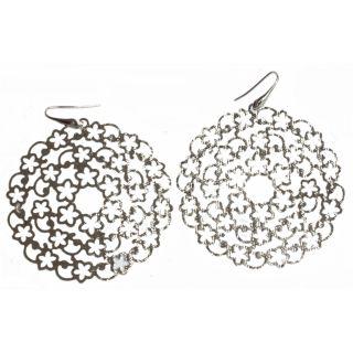 Fancy Italian 925 Sterling Silver Earrings Silver Colored Rhodium