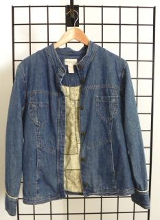 Jill Out of The Blue Denim Jean Jacket M Tall Toile Lining