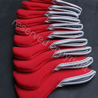 Golf Club Iron Head Covers Set 10 Pcs Headcovers Red