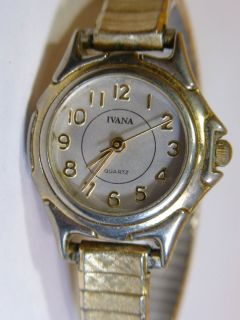 Ivana Ladies Quartz Watch Gold Tone Works Flex Band