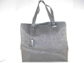 Ivanka Trump Gray Embossed Simulated Leather Shopper Bag Handbag Purse