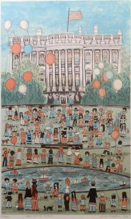 Ivel Weihmiller 1954 Limited Signed Lithograph Print The White House