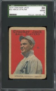 1914 Cracker Jack 33 Strunk Philadelphia Athletics SGC 30
