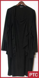 Nina Leonard Matte Jersey Dress and Cascading Cardigan Black Sz 3X New