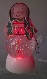 Lighted Color Changing Motion Snowman Snow Globe Dome Moving 2010 NWT