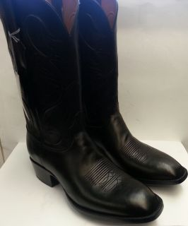 New Black Jack Texas Black French Calf Handmade Cowboy Boots Inlay