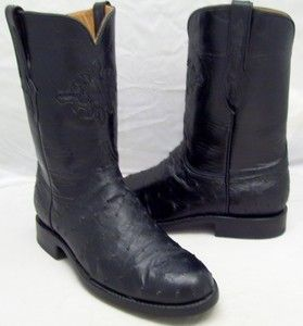 Black Jack Mens Black Custom Ostrich Leather Cowboy Western Roper