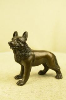 Attentive German Sheppard Bronze Statue Figurine Art Figure Animal