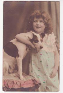 Vintage Cute Edwardian Girl w Jack Russel Dog Photo Postcard
