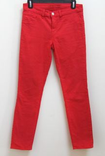NWOT J Brand 811 Mid Rise Skinny Twill Jeans Pants in Bright Red Size