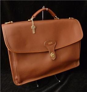 Jack Georges USA Cognac Brown Leather Briefcase Laptop Document Holder