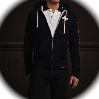 Hollister by Abercrombie Mens Jack Creek Navy Blue Hoodie Jacket Shirt