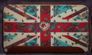 Primark Union Jack Floral Rose Tan Trim Wallet Purse Vintage Kitsch