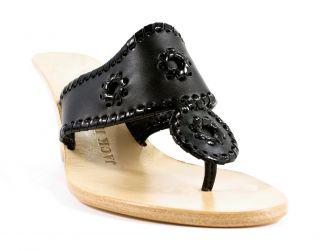 Jack Rogers Navajo Classic Palm Beach Hi Wedge Black Shoes 8 New