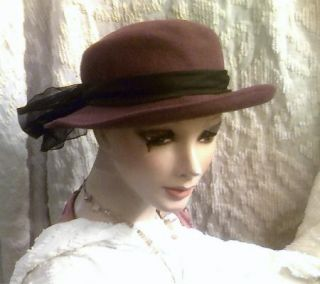 Sexy Rocker 80s Vintage Purple Brimmed Hat Black Sheer Scarf One Size