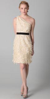 Lela Rose Belted One Shoulder Dress