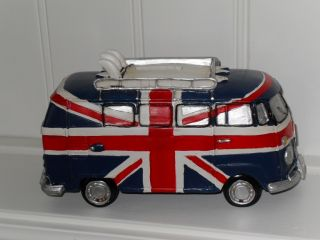 Union Jack VW camper Van Money Box and Surf Boards Gift Boxed