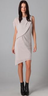 Helmut Lang Drape Front Dress with Netting Overlay