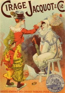 CLOWNS PIERROT CIRAGE JACQUOT PARIS SHOW FRENCH VINTAGE POSTER REPRO