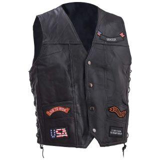 Motorcycle Biker Riding Vest Jacket w 11 Patches M L XL 2XL 3XL