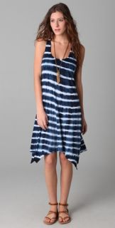 Three Dots Racer Back Scoop Neck Striped Jersey Dress