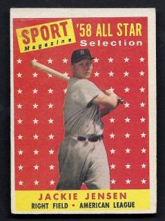 Jackie Jensen All Star Selection 1958 Topps Card 489