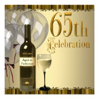 Wine Glass Bottle Gold 65th Birthday Party Personalized Announcement