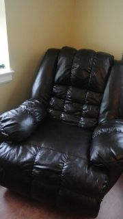 New 3 way Leather Brown Chair Electric Recliner Rocker Vintage *NO