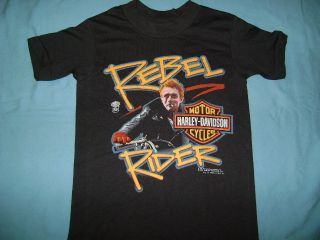 Vintage New James Dean Harley Davidson Rebel Rider Black 80s T Shirt