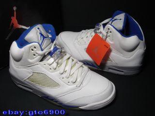 2006 Nike Air Jordan V 5 Retro White Blue US 10 XI