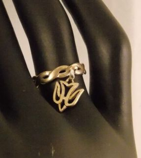 James Avery Sterling Silver Twist Dangle Ring w Dove Charm Size 5 118