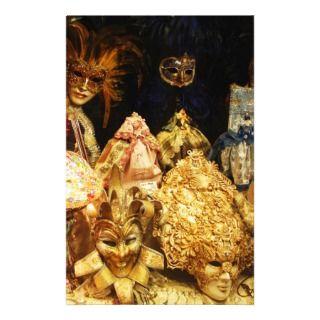 Venetian Carnival Masks   Venice, Italy Stationery Design
