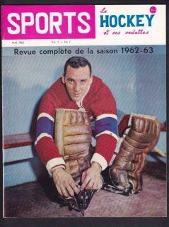 1963 May Vol1 7 Sport Le Hockey Magazine Jacques Plante