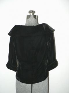 Jackie O Style Black Velvet Retro 50s Fitted Top Blouse Size M
