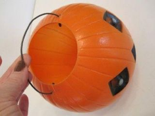 Vtg Halloween Pumpkin Jack O Lantern Plastic Candy Container with