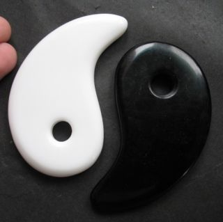Yin Yang White Black Jade CRYSTAL MASSAGE STONE CARVING Calming Body