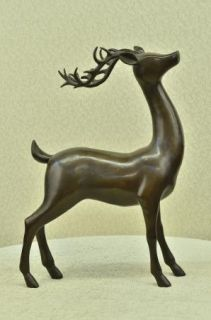 Bronze Art Sculpture Figure Stag Buck Figurine Bronze Art Deco