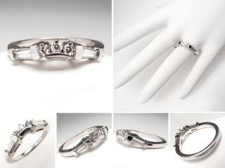 Jaffe Wedding Band Ring Guard Genuine Diamonds Solid Platinum Estate