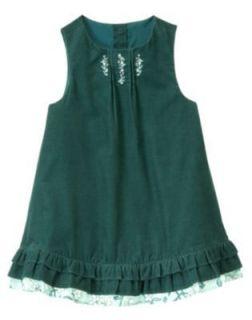 Girls Fall Floral Art Nouveau Fairy Teal Green Corduroy Ruffle Dress 4