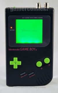 Original Game Boy Black System with Custom Green Backlit Pro Sound Rca