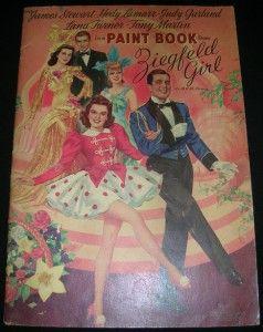 Girl Coloring Paint Book Merrill 3465 Judy Garland Lana Turner