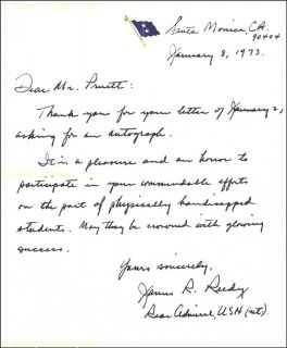 James R Reedy Autograph Letter Signed