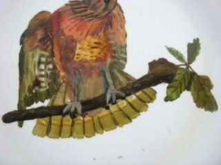 Mouger Hand Painted Wall Plate Bird on Branch Art